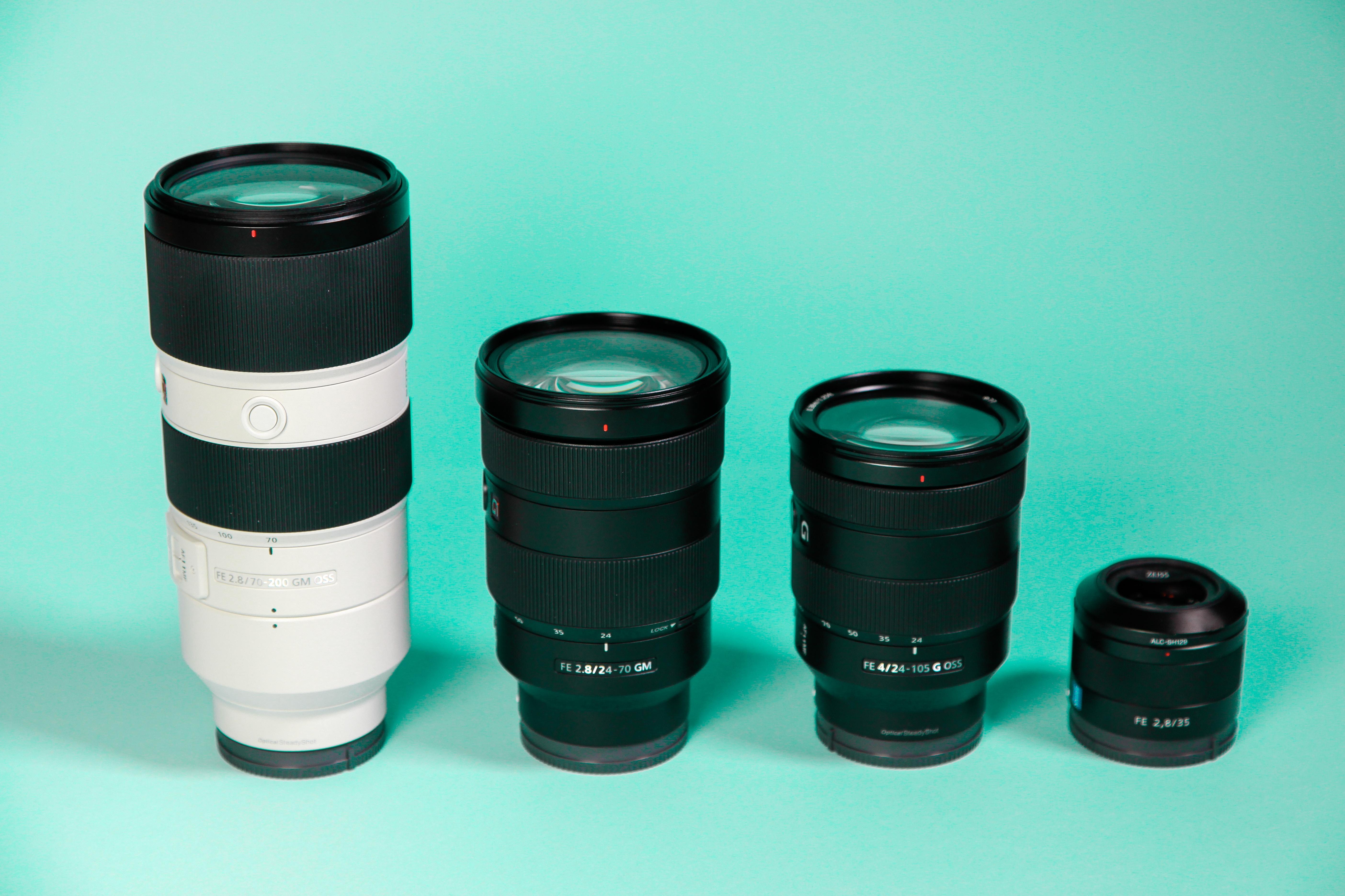 four camera lenses