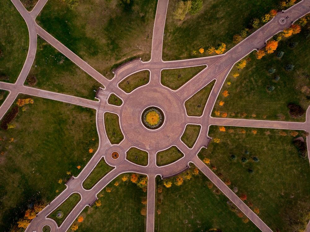 green grass aerial view