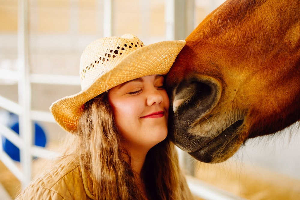 woman's face next to horse