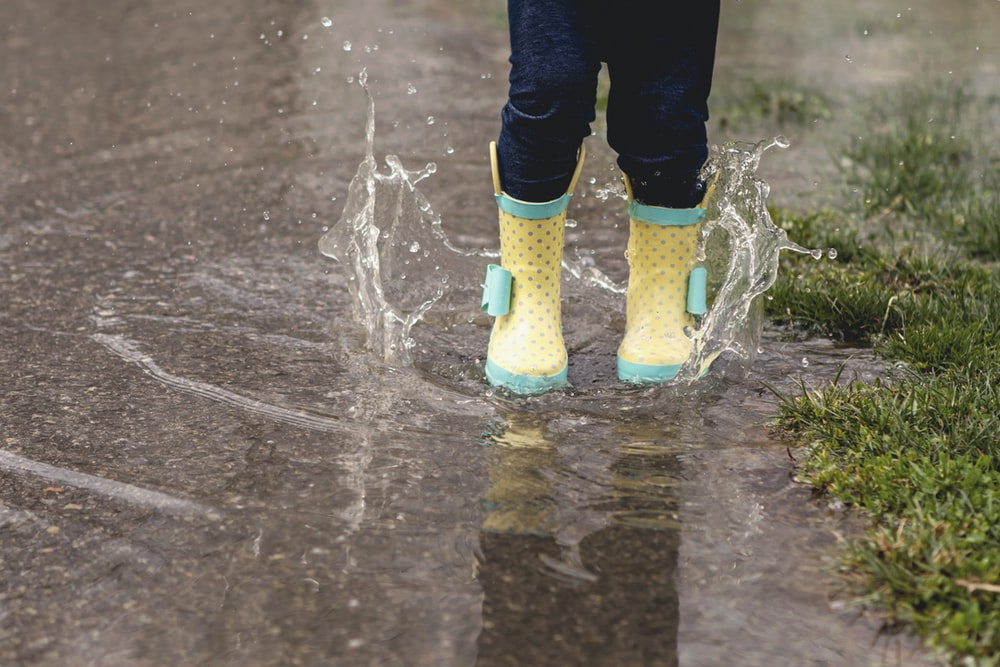 person wearing yellow rain boots