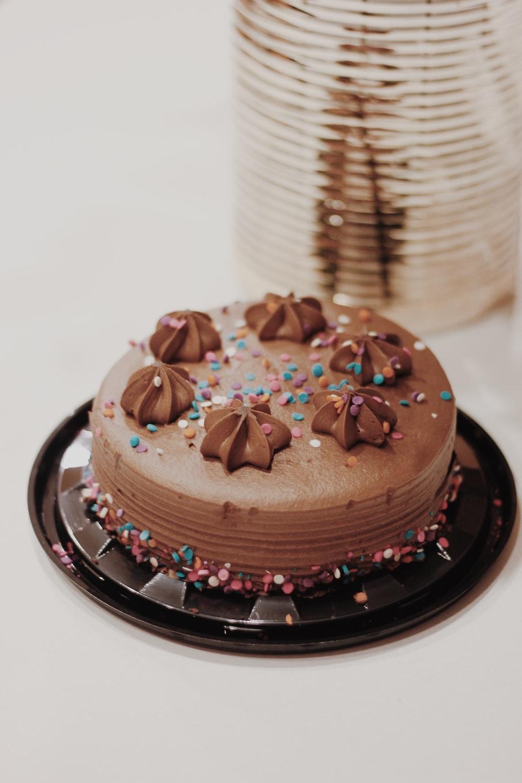 round chocolate coated cake
