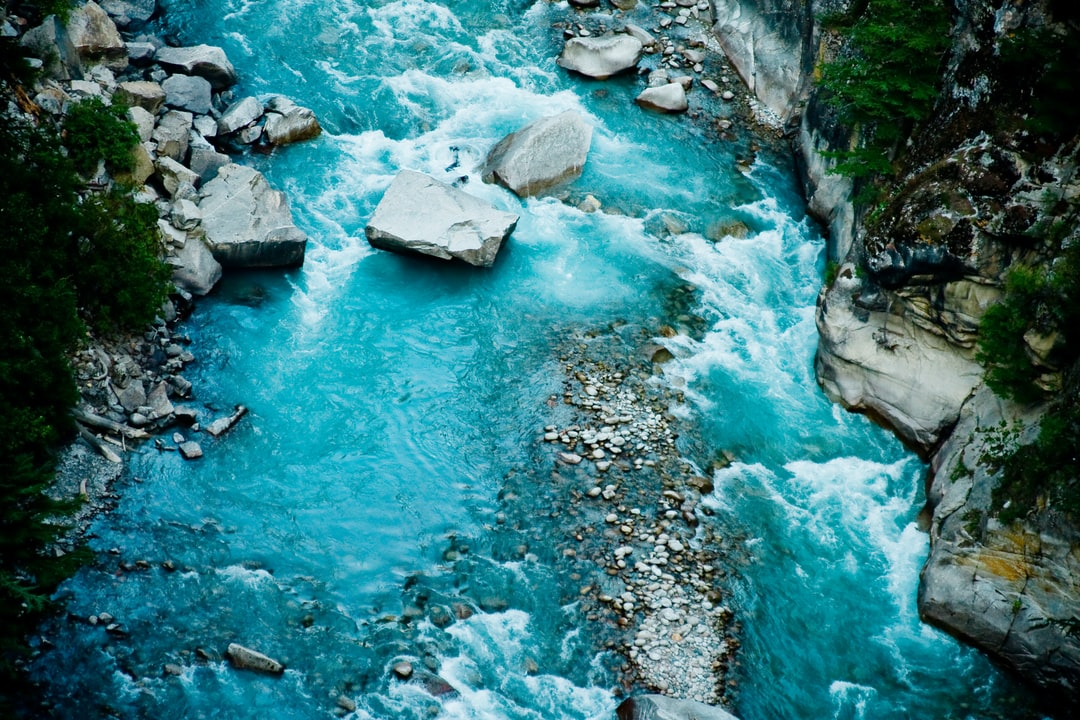 River Ganga in valley Himalayas mountains
