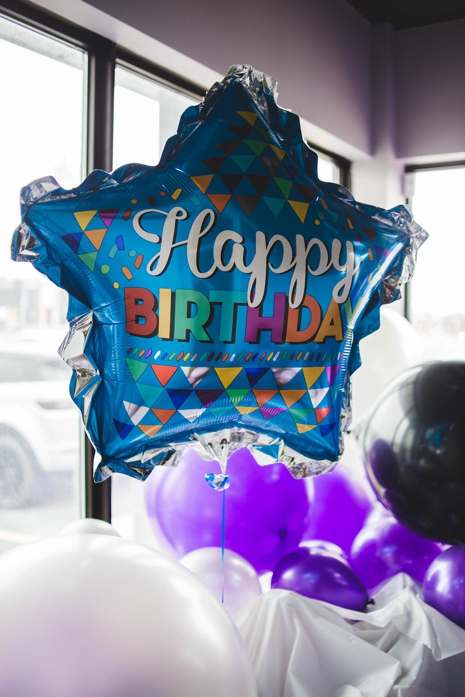 Happy Birthday balloon near window
