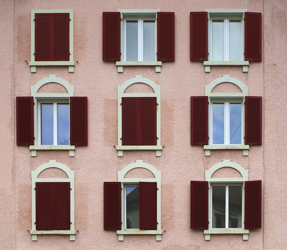red wooden windows