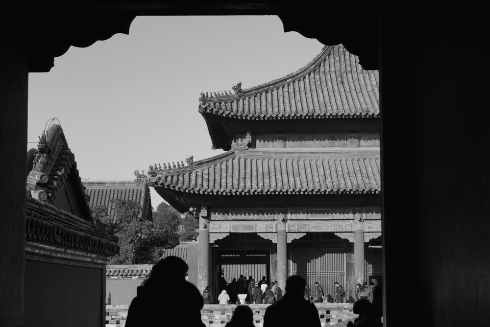 grayscale photography of pagoda building
