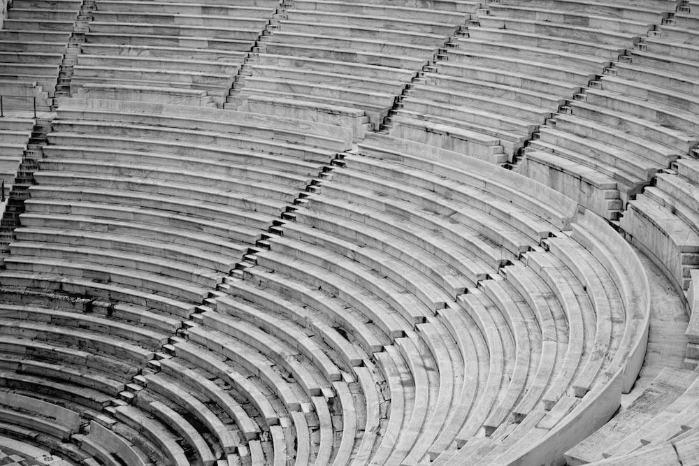 grayscale photo of stadium