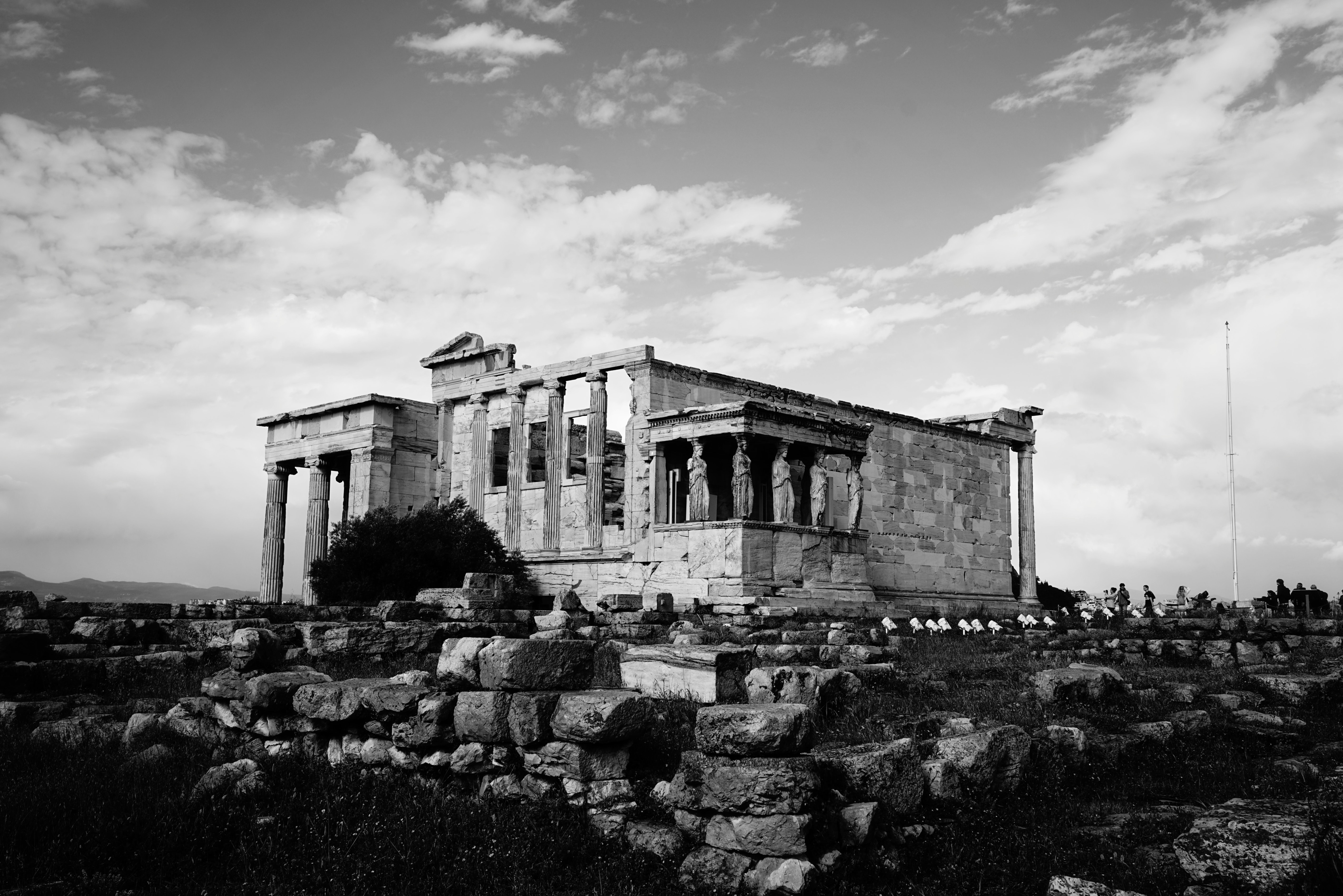 greyscale photo of ruins