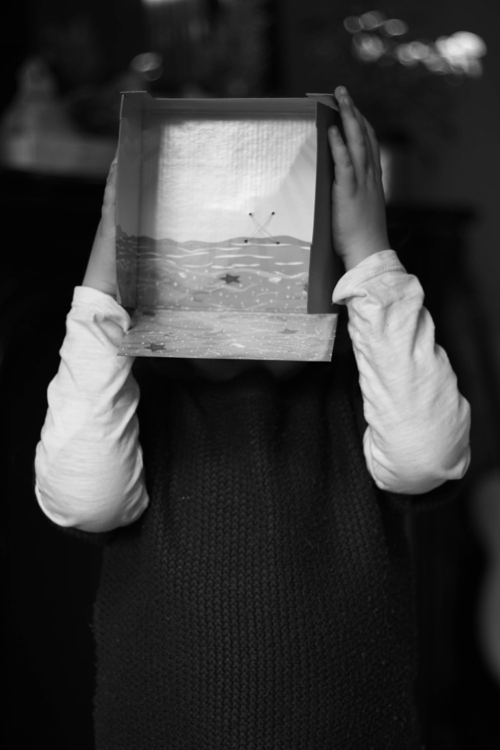 person holding box covering his face