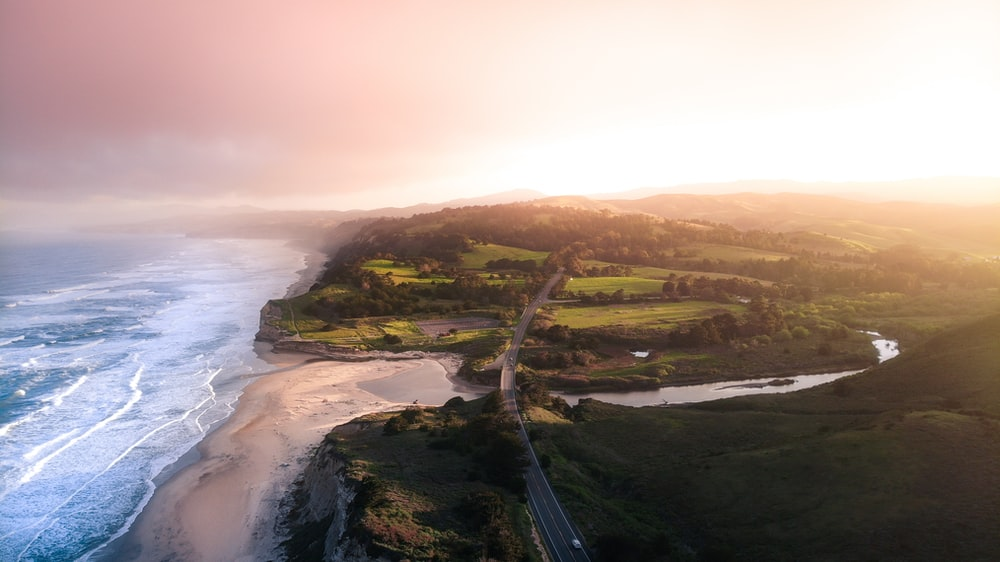 aerial photography of green field beside beach