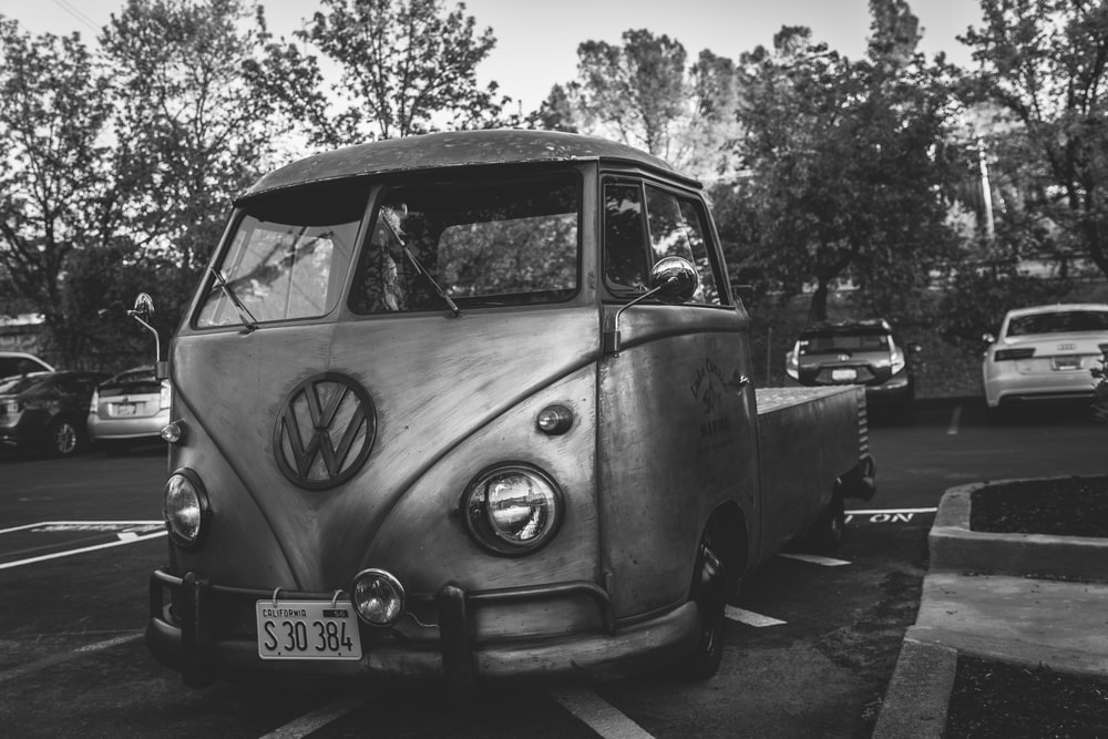 grey scale photography of Volkswagen T2