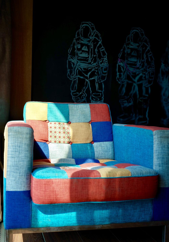 multicolored sofa chair