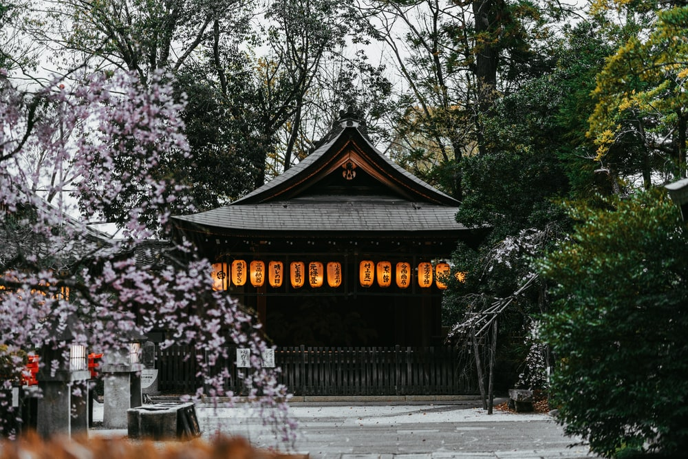 traditional Japanese building with orange paper lanterns