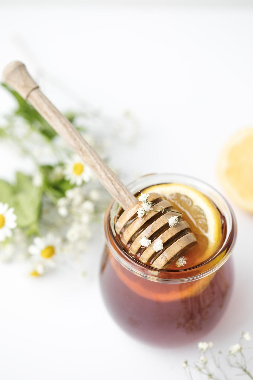 honey in glass on tabel