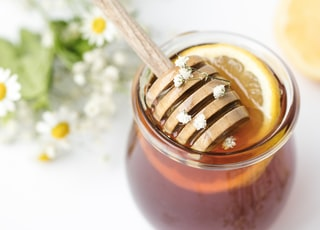 honey in glass on tabel