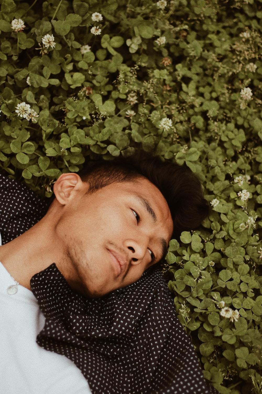 man lying on green leafed plant