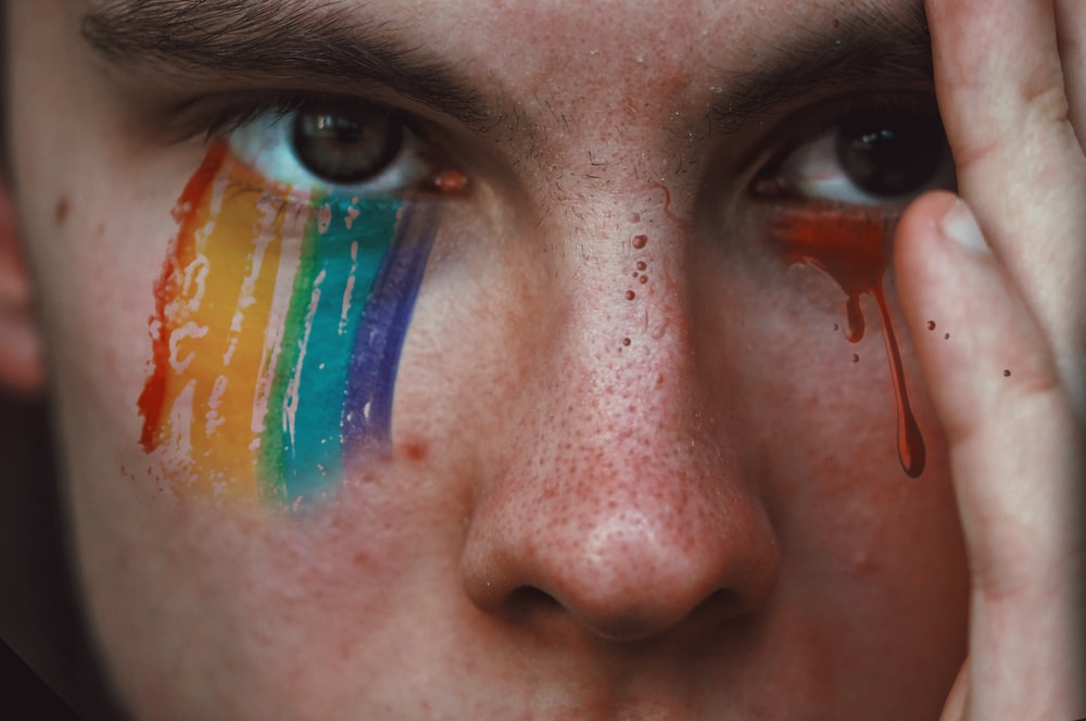 closeup photography of person with rainbow eyeshadow