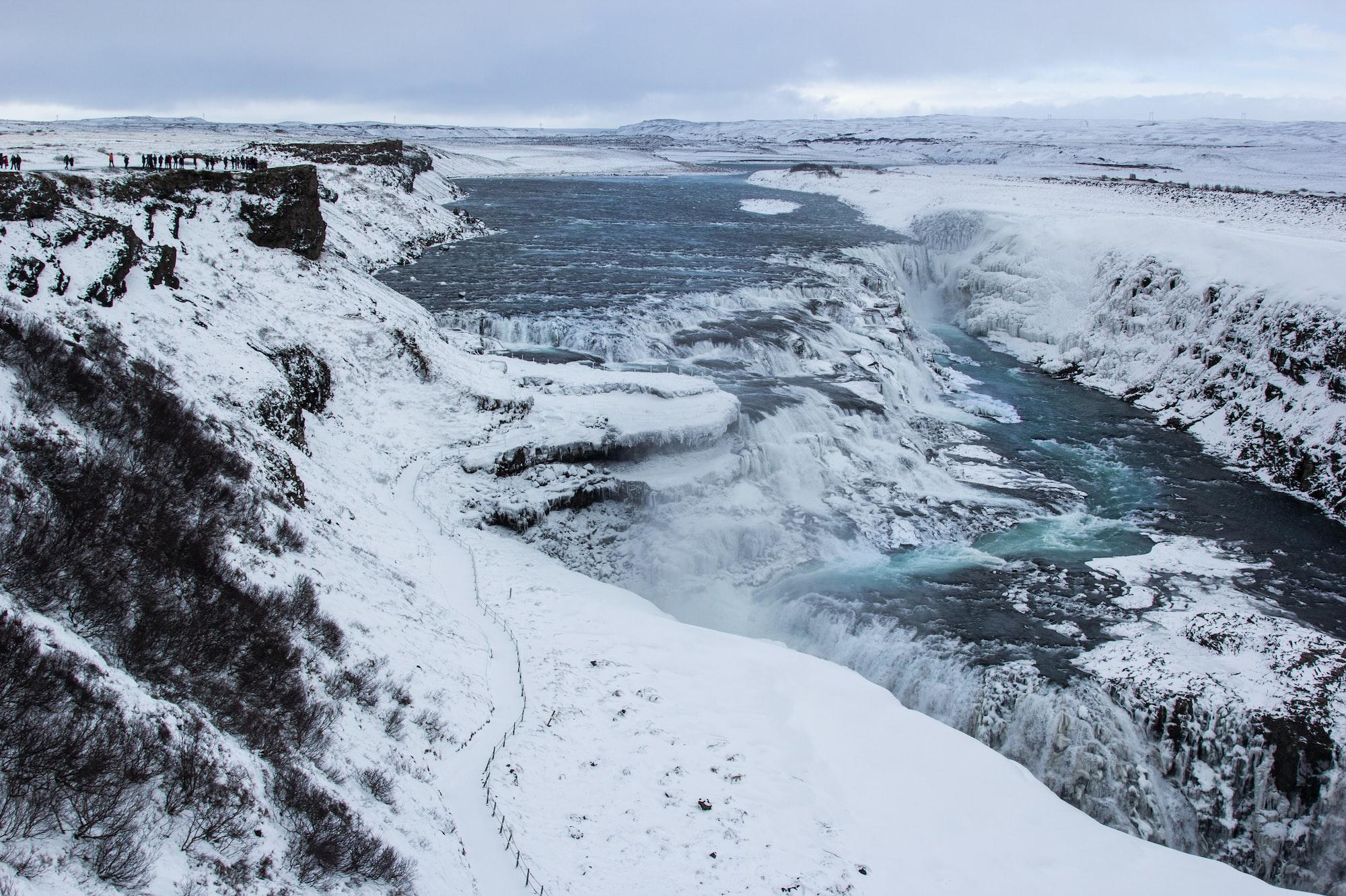 The golden waterfall Gullfoss in winter.