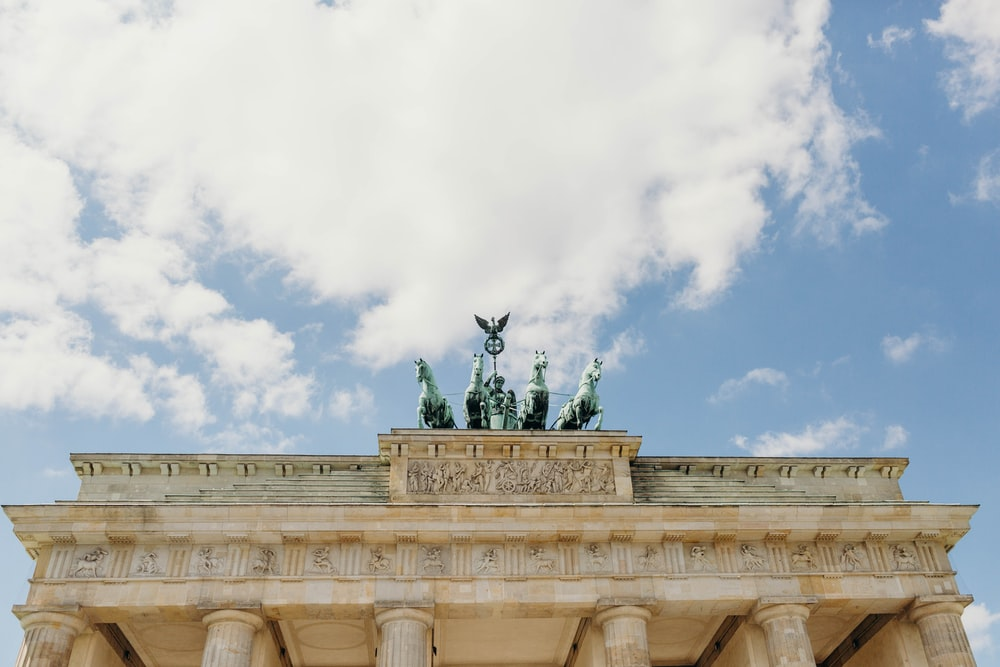 low-angle photography of Brandenburg gate