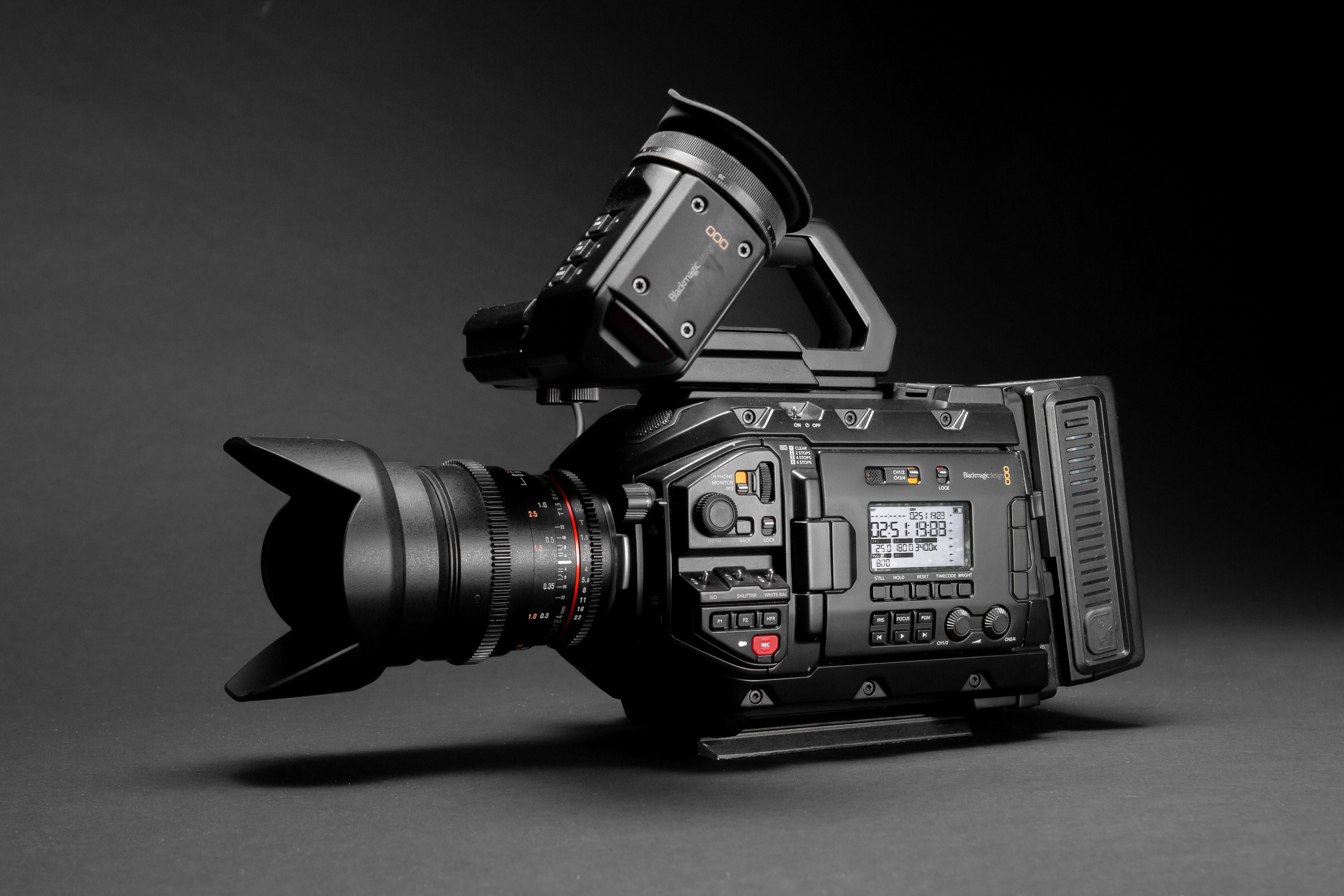 selective focus photography of black videocorder camera