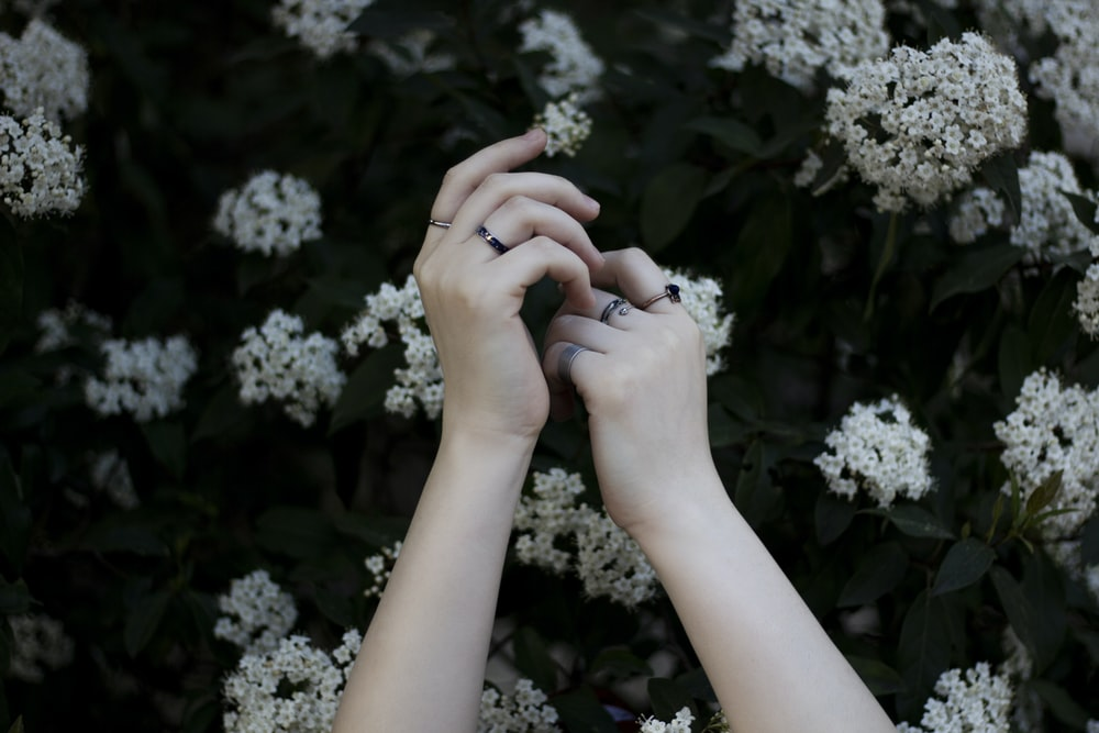 hands holding white flowers