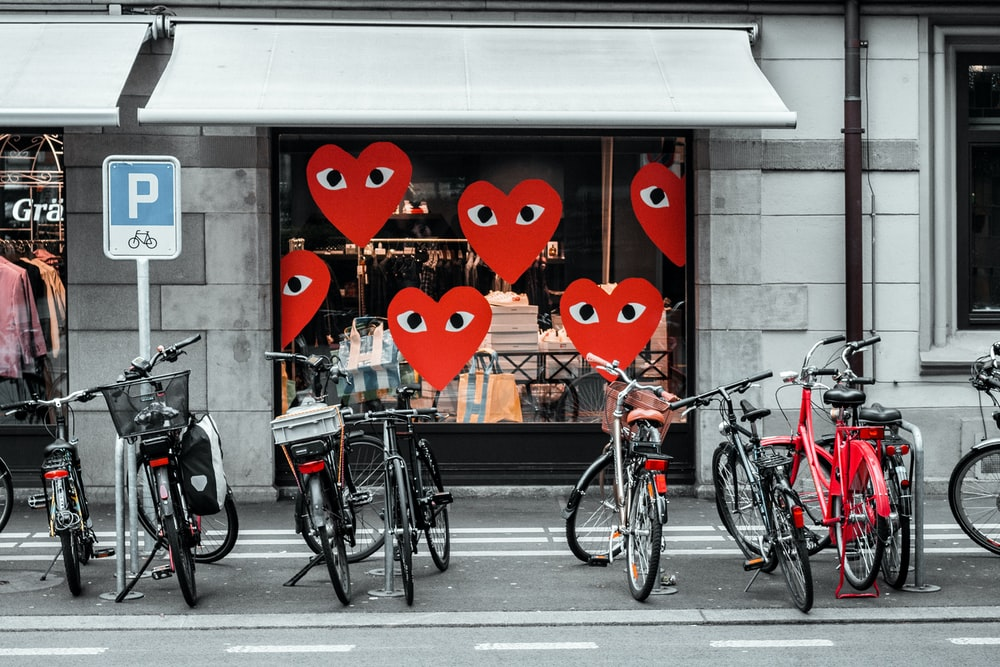 bicycles parked outside store
