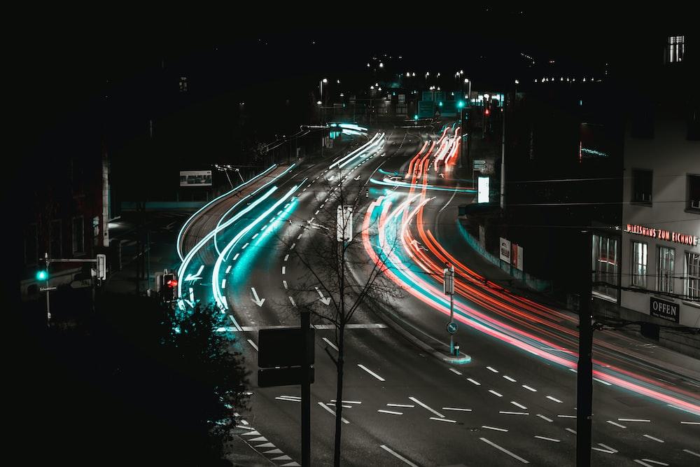 timelapse vehicle tailight on street
