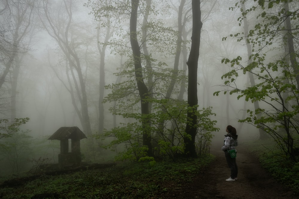 woman in white jacket standing in the forest