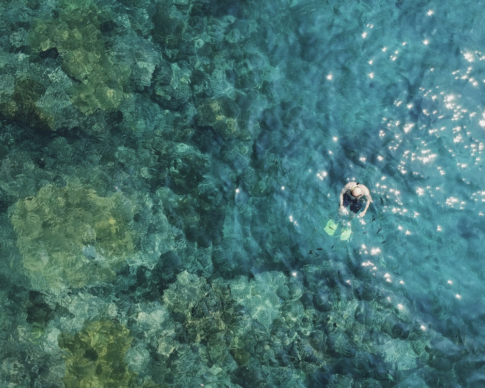 aerial photography of man in water