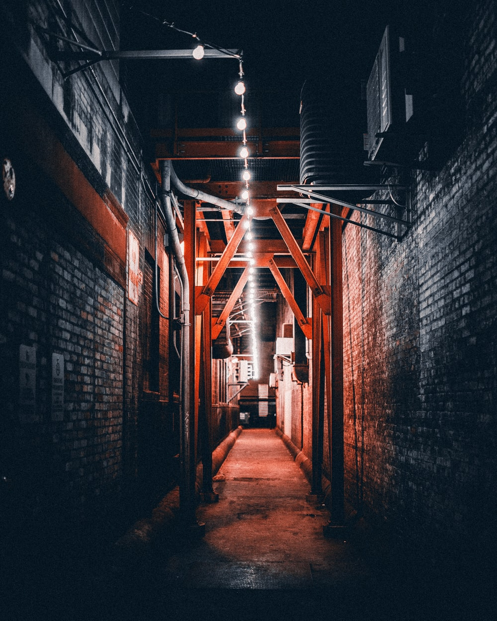 light bulbs turned-on at alley