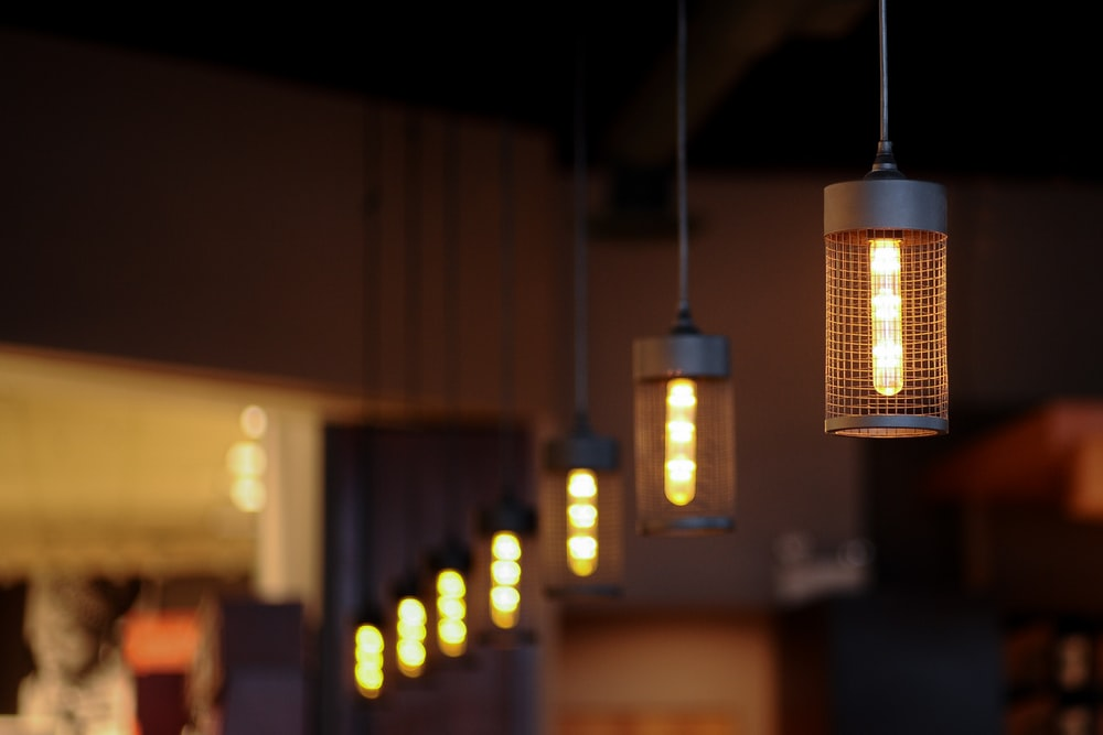 selective focus photography of pendant light