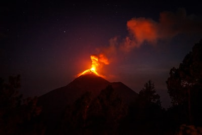 lava coming out from mountain volcano teams background
