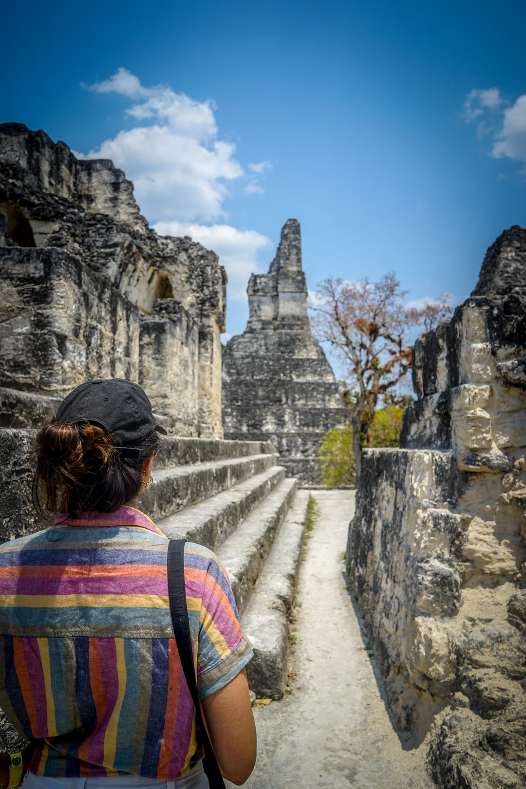 Tikal is impressive, tall pyramid shaped buildings that were the cornerstones of the Mayan civilization from 900 BC to 900 AD. Most were used as locations for prayer and being closer to God. Anjali and walked the Altiplana a modern day market and saw the Jaguar Temple behind.