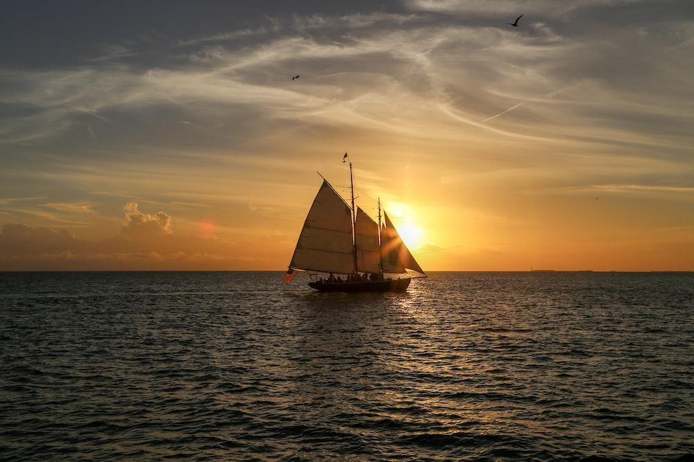 gray sailboat sailing