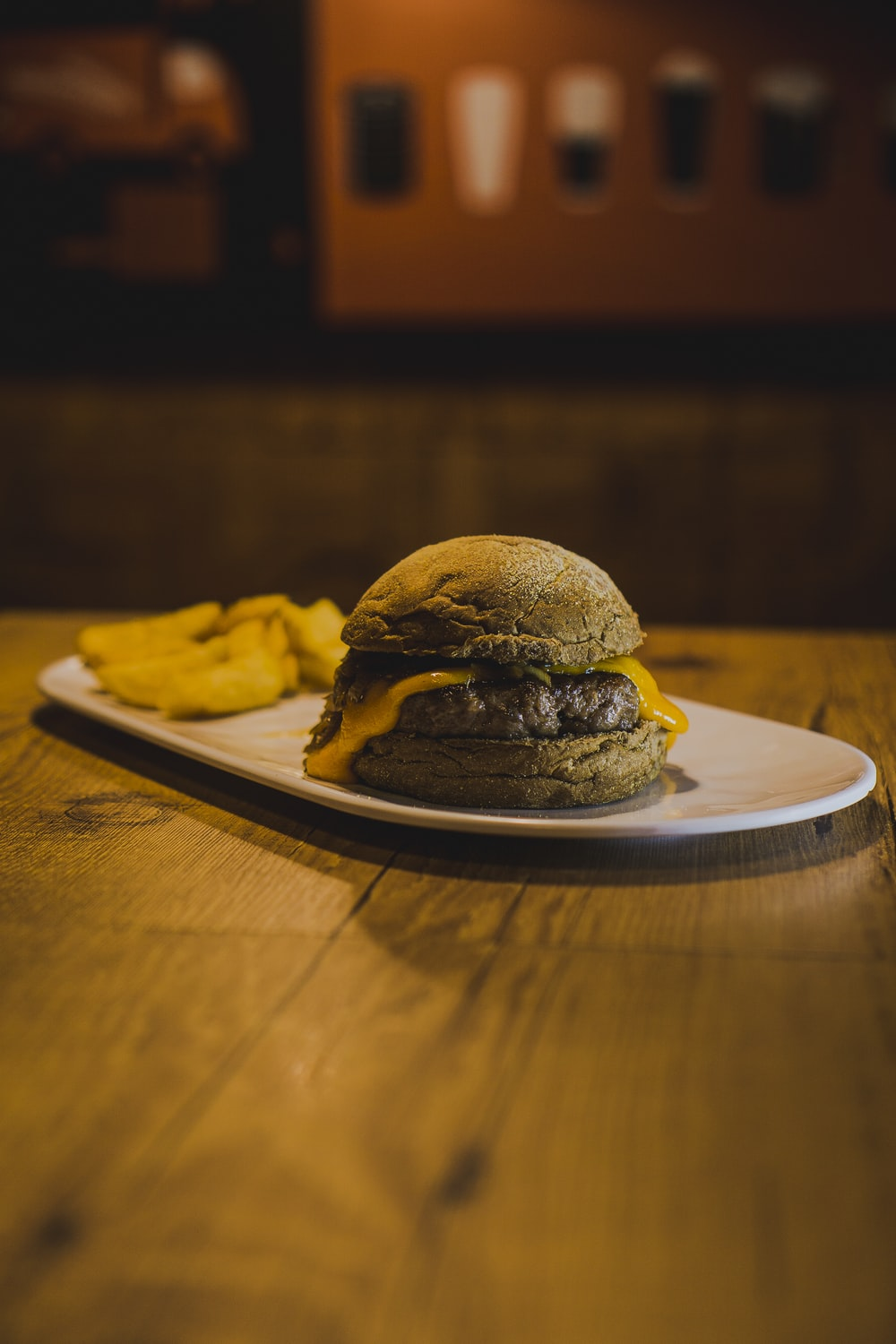 cheese burger on plate