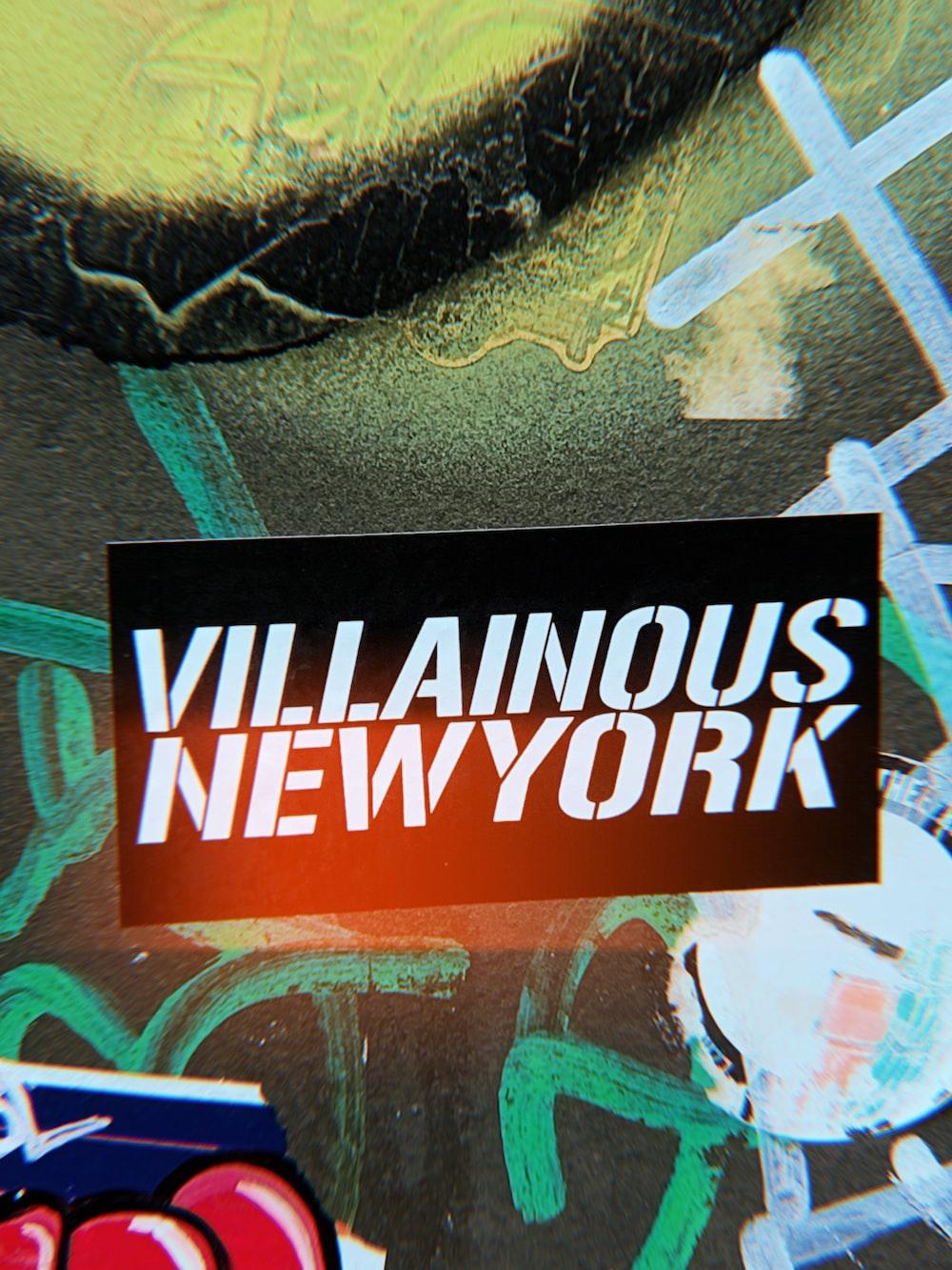 black and white Villainous New York-printed poster