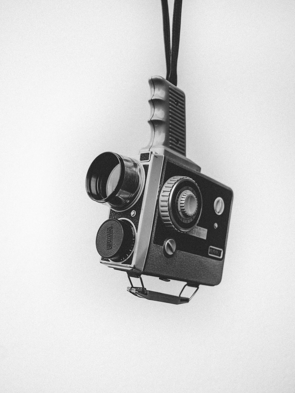 Camera on white surface