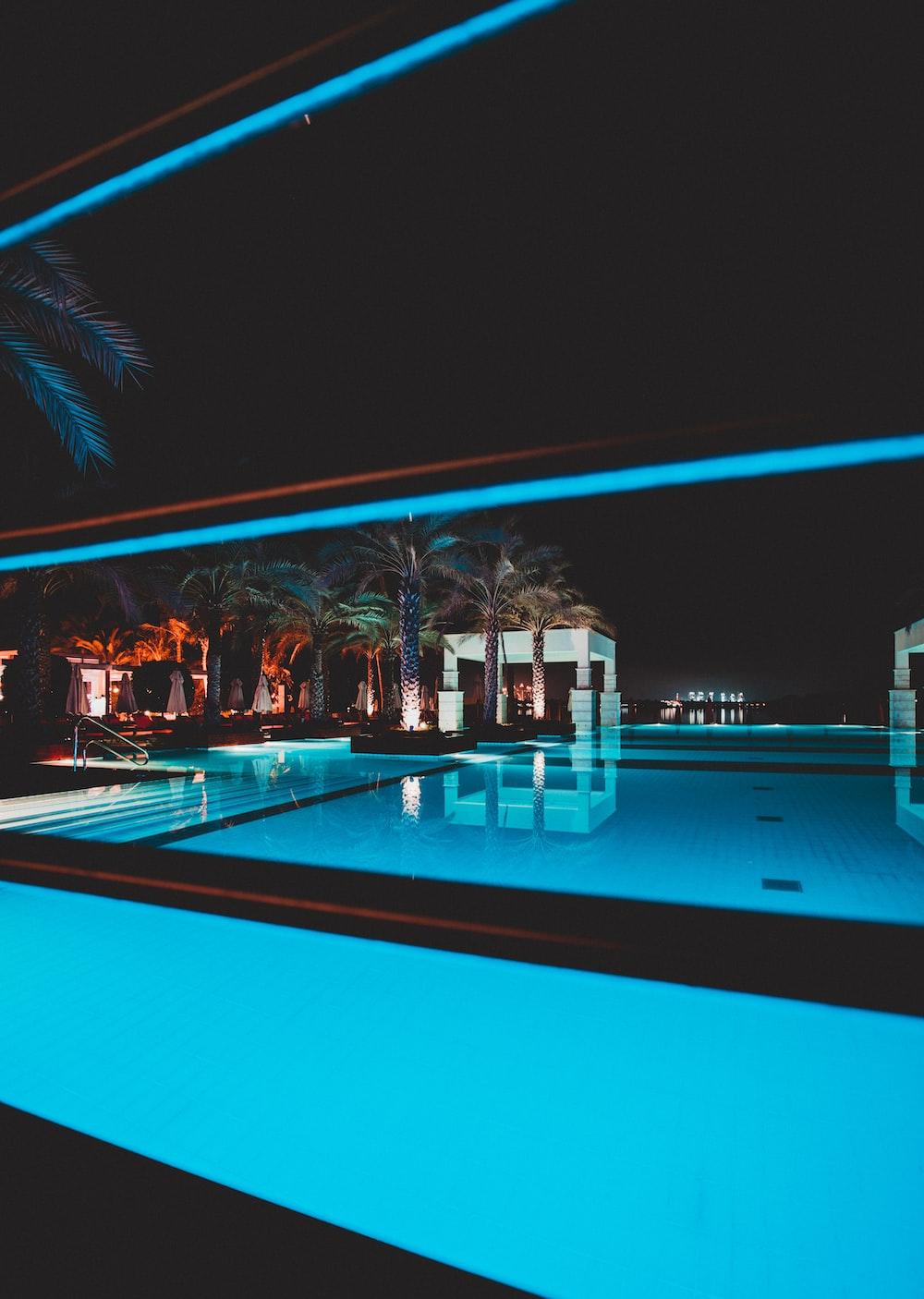 swimming pool at night-time
