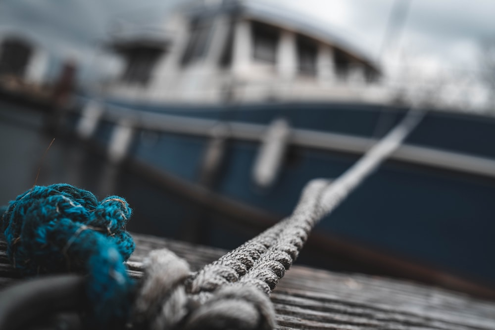 close-up photo of tied rope on boat