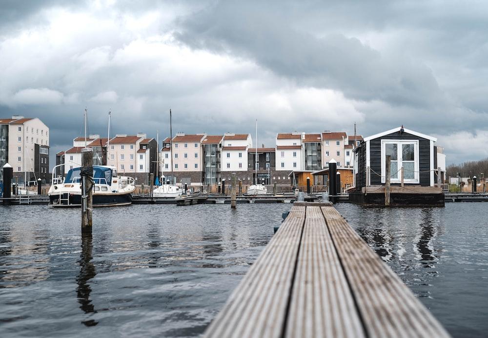 concrete houses beside river