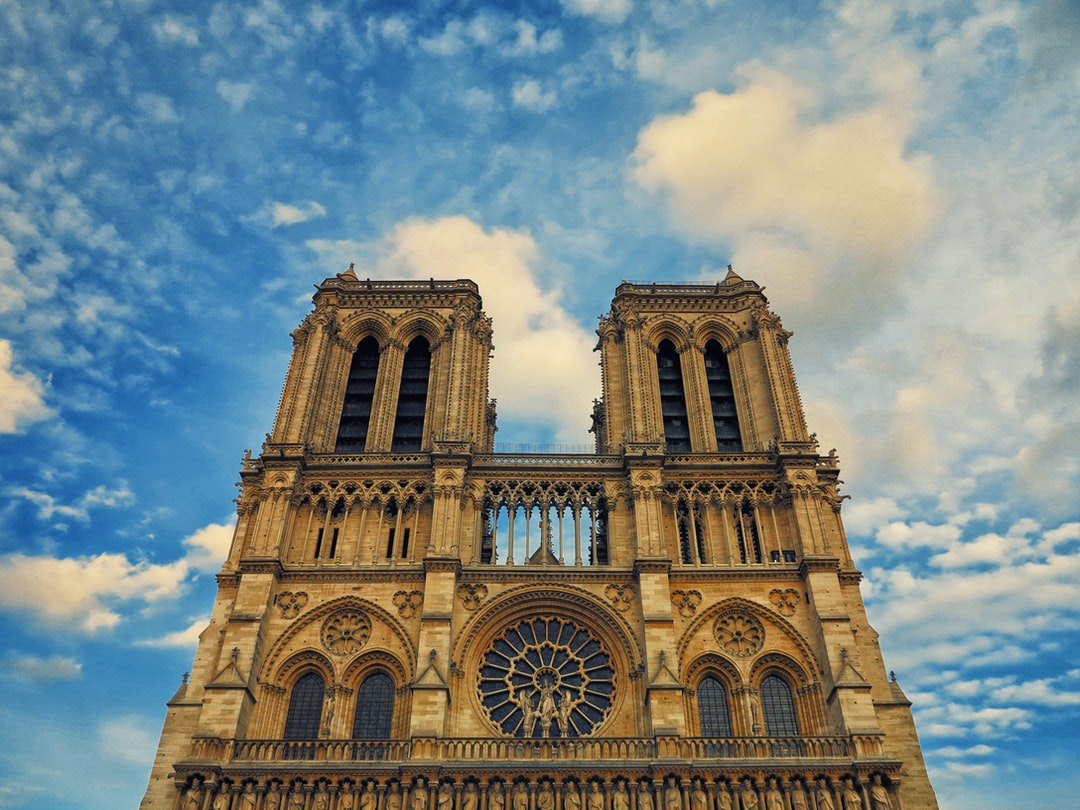 The monumental Notre Dame Cathedral in Paris, France.