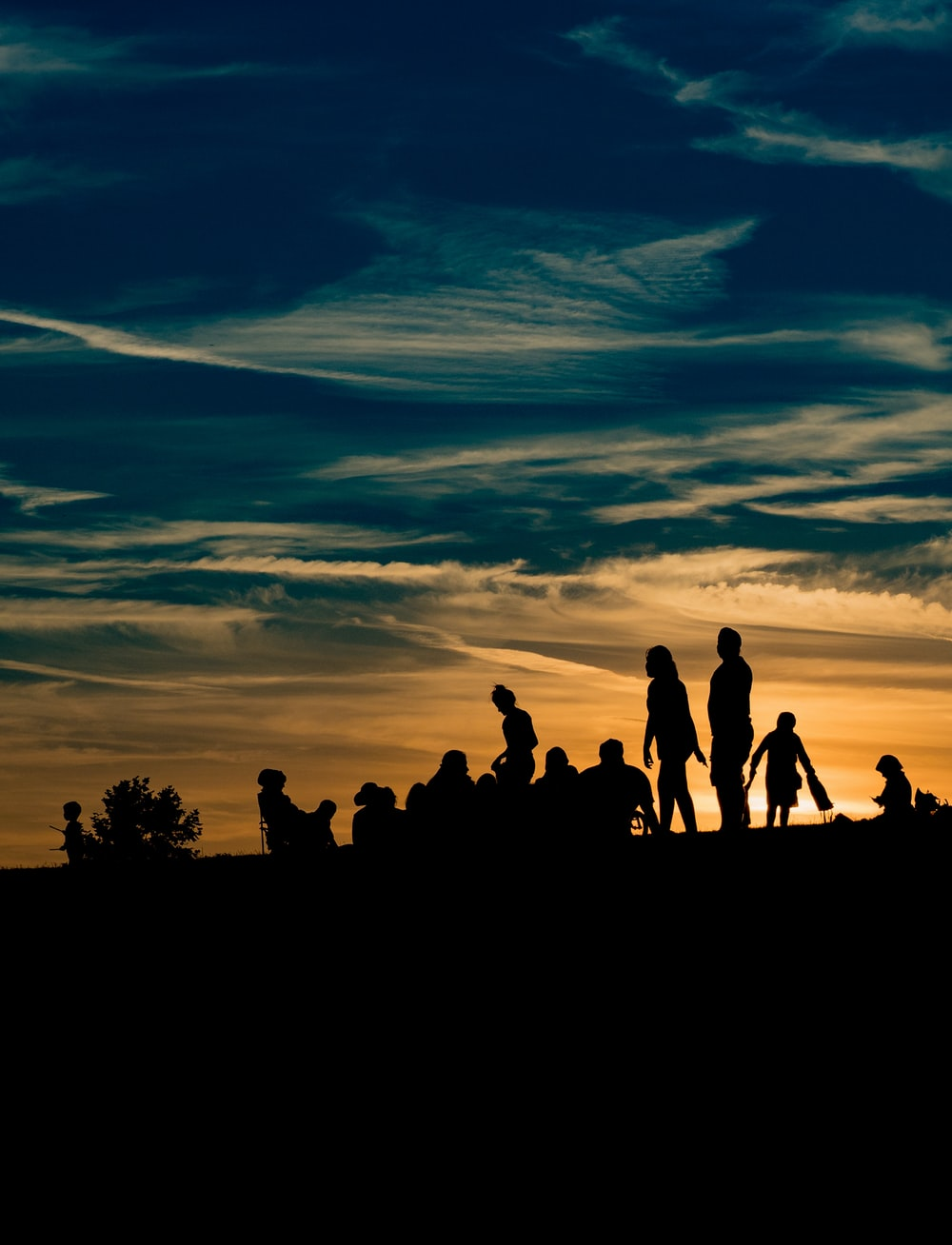 silhouette of people during golden hour