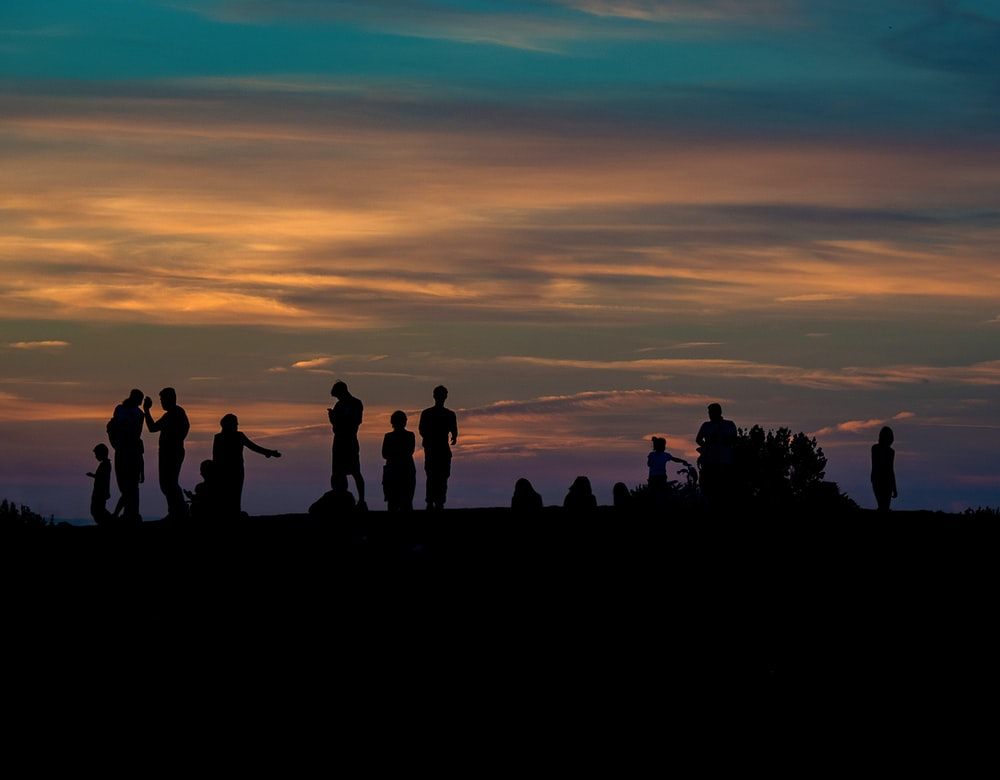 group of people silhouette photography