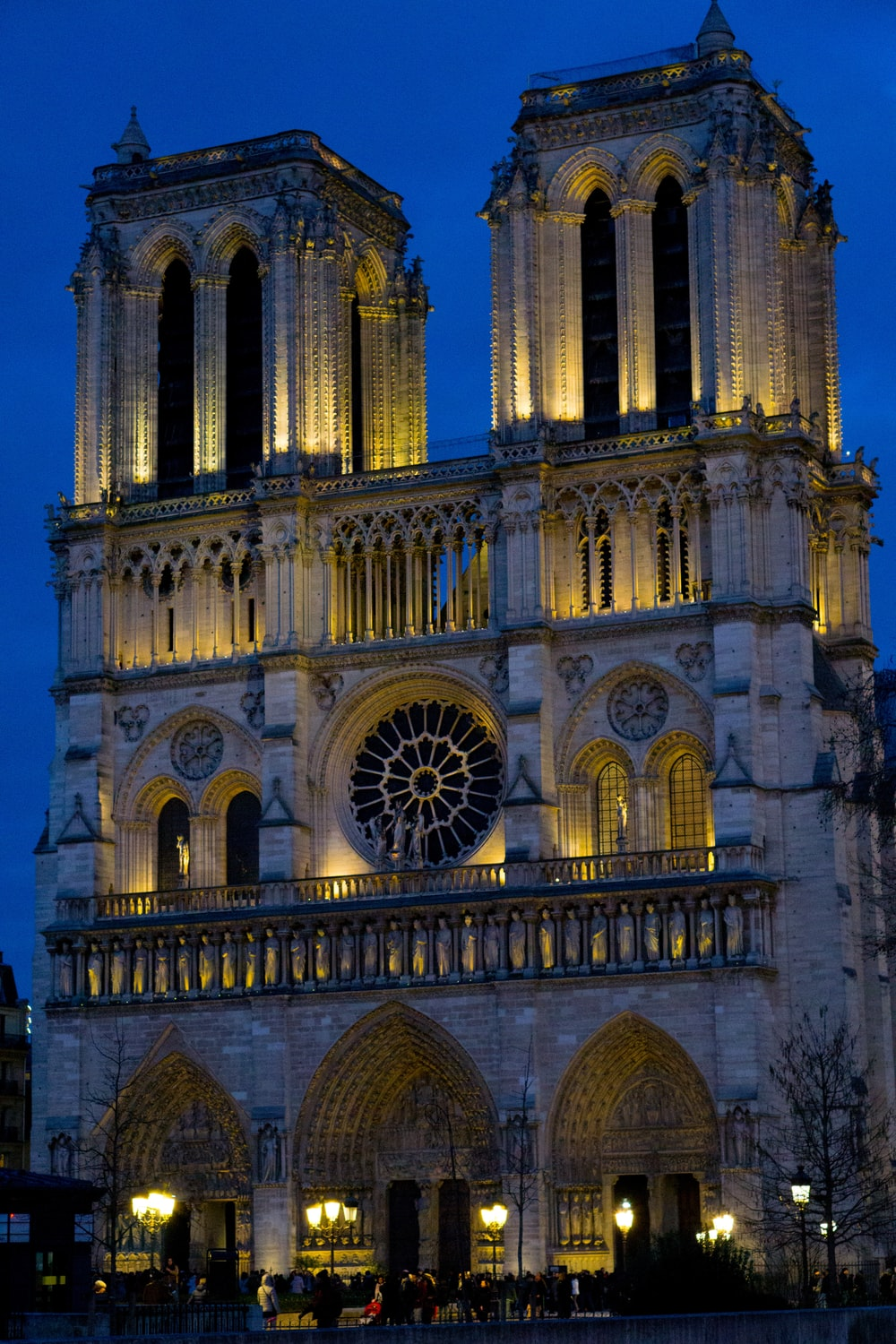 turned-on lights of a cathedral