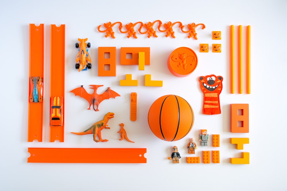 orange plastic toys