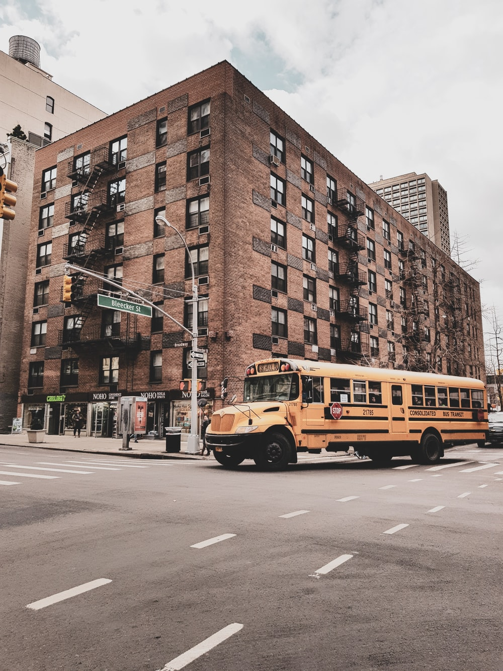 school bus near building