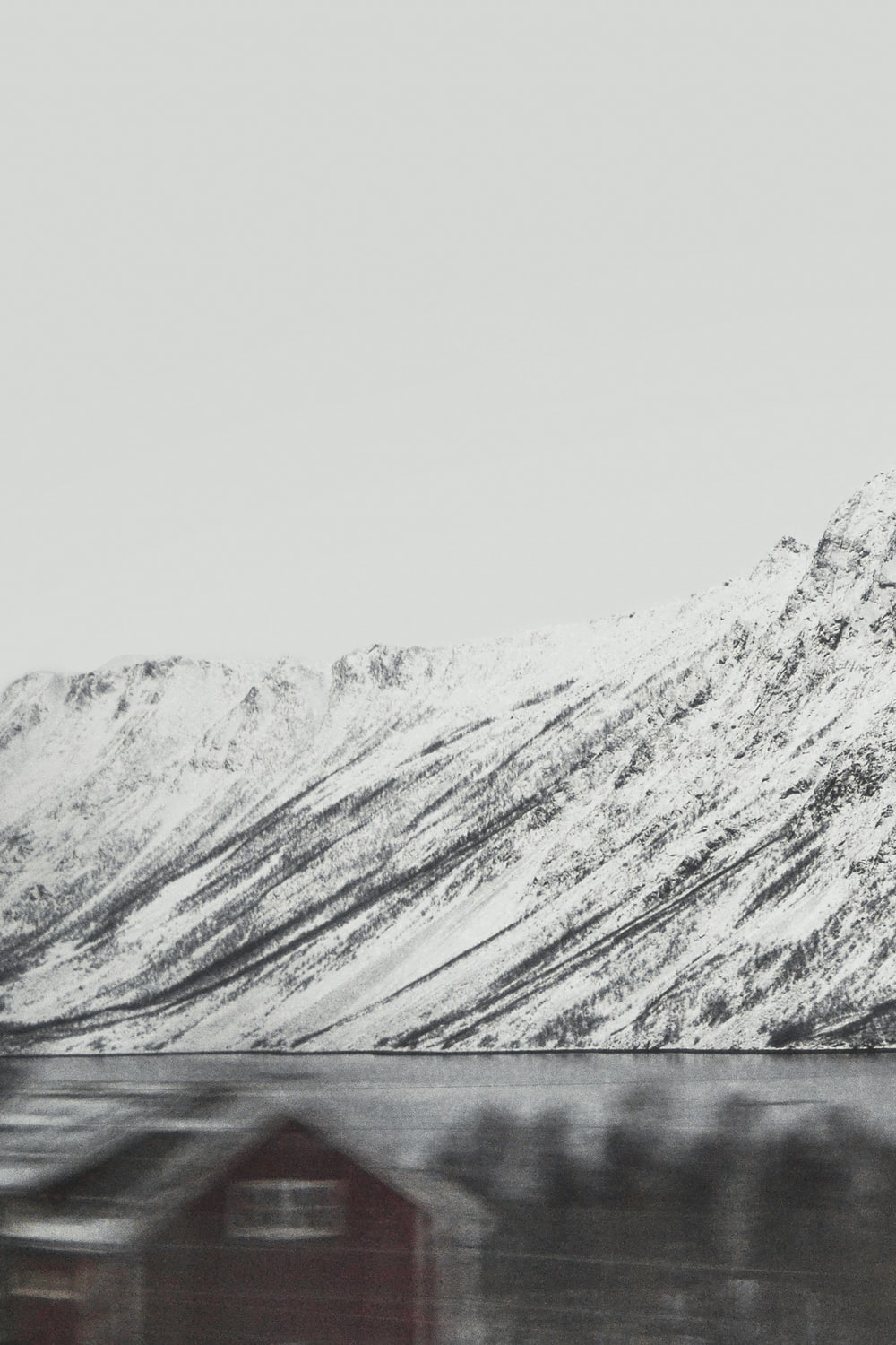snow-covered mountain by the lake