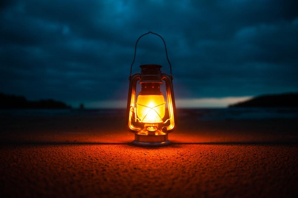 lighted kerosene lantern -