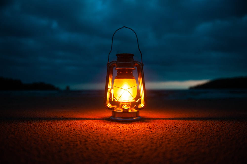 lighted kerosene lantern -
