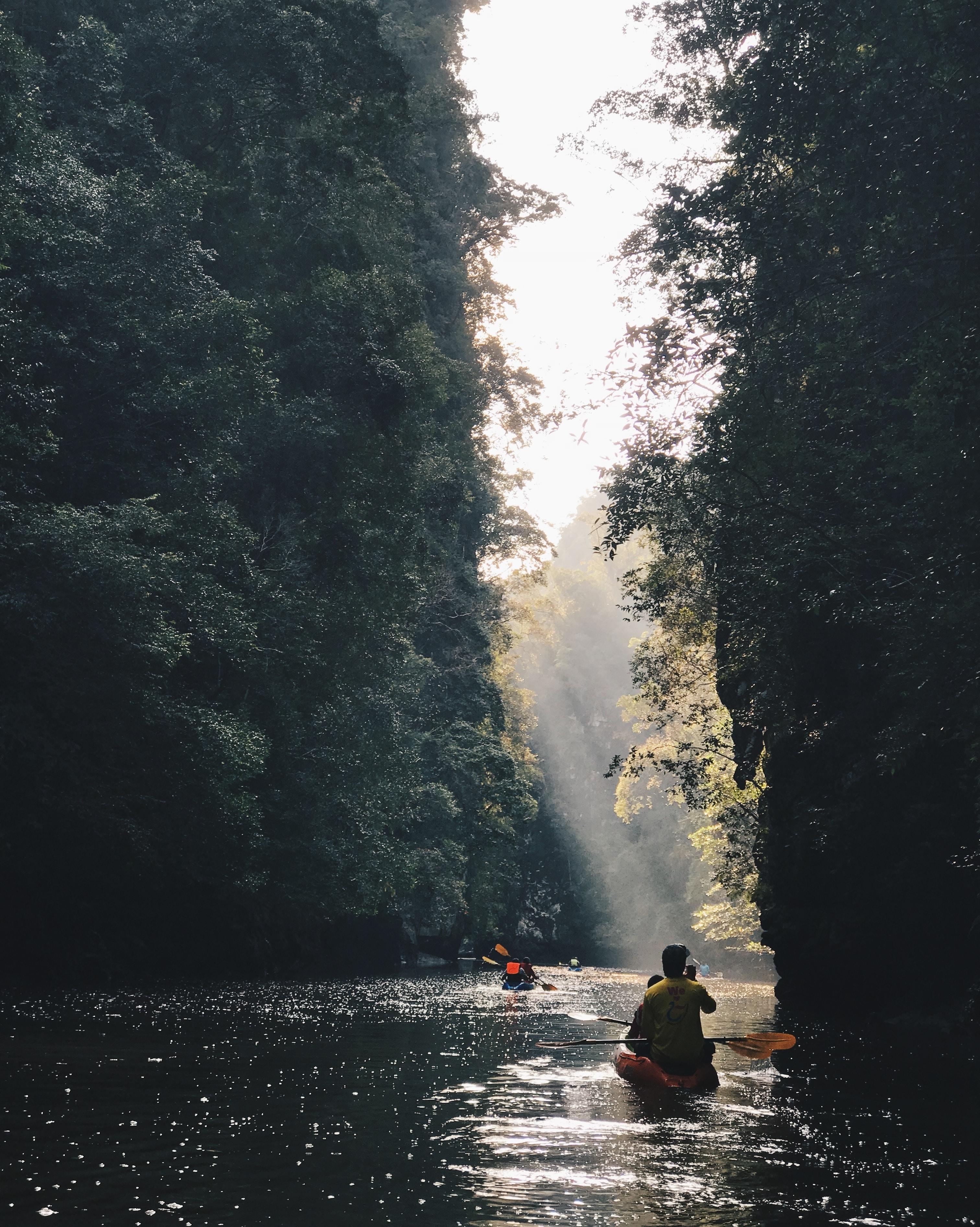 person riding on kayak