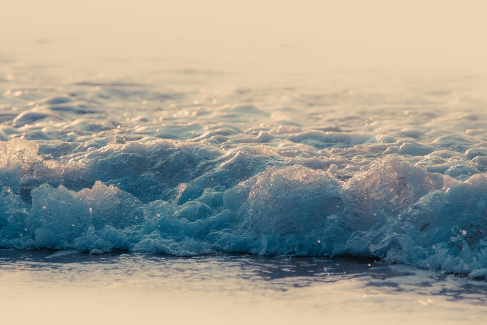 wavy sea in close-up photography